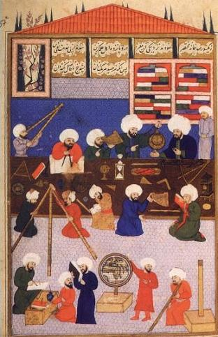 An image of an Islamic observatory, showing an astrolabe in use