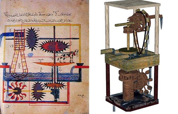 "Among the original machines described in the corpus of technology from Muslim Civilisation, the six-cylinder ""monobloc"" piston pump designed by Taqi al-Din Ibn Ma'ruf in the late 16th century holds a special place. Working as a suction pump, this complex machine included components that are often associated with modern technology, such as a camshaft, a cylinder block, pistons, and non-return valves. In this article, Joseph Vera, an expert in re-engineering ancient inventions, describes how he created a SolidWorks CAD model of this remarkable pump, that he completed with a motion simulation. The conclusion he drew after creating the model and the simulation is that the engineers of the Muslim tradition, represented by Taqi al-Din, had a very solid grasp of kinematics, dynamics and fluid mechanics. He notes also that Taqi al-Din's ""monobloc"" pump is a remarkable example of a machine using renewable energy, a topic that is currently of utmost importance…"